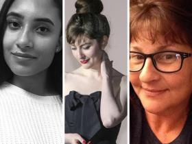 Headshots of three women, writing contest winners