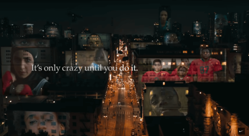 Images of young athletes projected on city buildings. Text reads It's only crazy until you do it