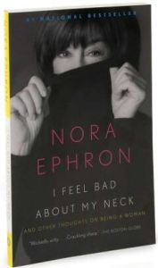 Nora Ephron pulling a black turtleneck up to her eyes. An inspiration for mature women