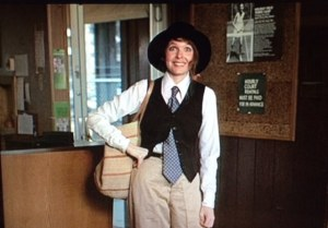 Diane Keaton dressed in men's khakis, vest and tie. An inspiration for mature women