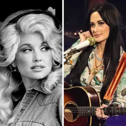 Dolly Parton with big blonde hair and denim shirt beside Kasey Musgrave in Cowboy style