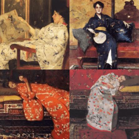 four 19th century paintings of white ladies lounging in kimonos