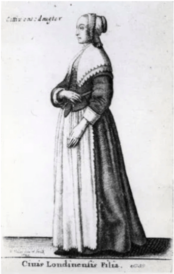 drawing of a Puritan woman with large flat collar