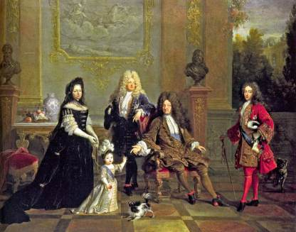 painting of Louis XiV and male family, all wearing large wigs