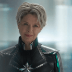close up of Annette Bening with short hair