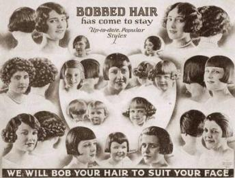 ad for short hair depicting various bobs 1920s