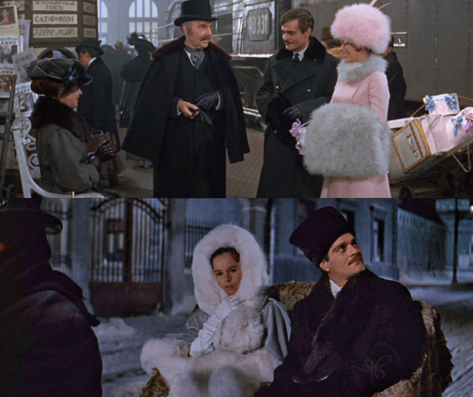 Two screenshots from Dr. Zhivago. Geraldine Chaplin wearing oversized pink and white fur. An example of classic winter fashion films