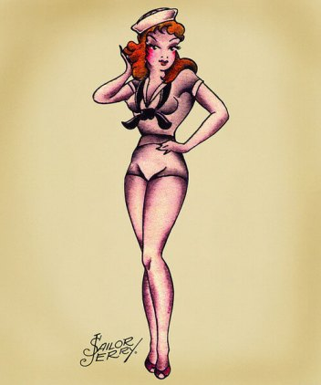 A red-haired pin-up girl tattoo design