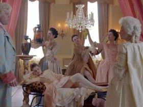 Cast of Harlots in pastel colors