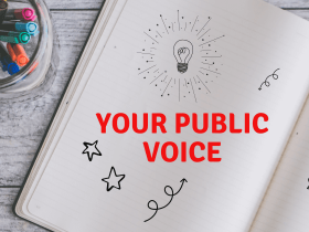 Your Public Voice on a notebook with doodles
