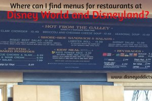 Where can I find menus for Disney World and Disneyland restaurants? 2