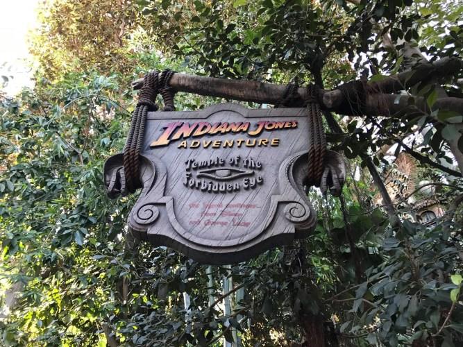 Indiana Jones Ride sign