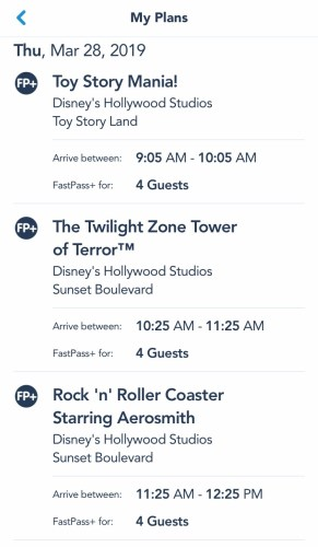 FastPass+ Screen Shot