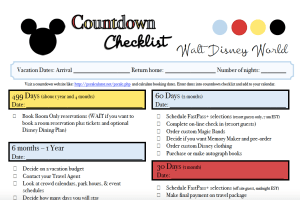 Pre-planning Checklist for Walt Disney World