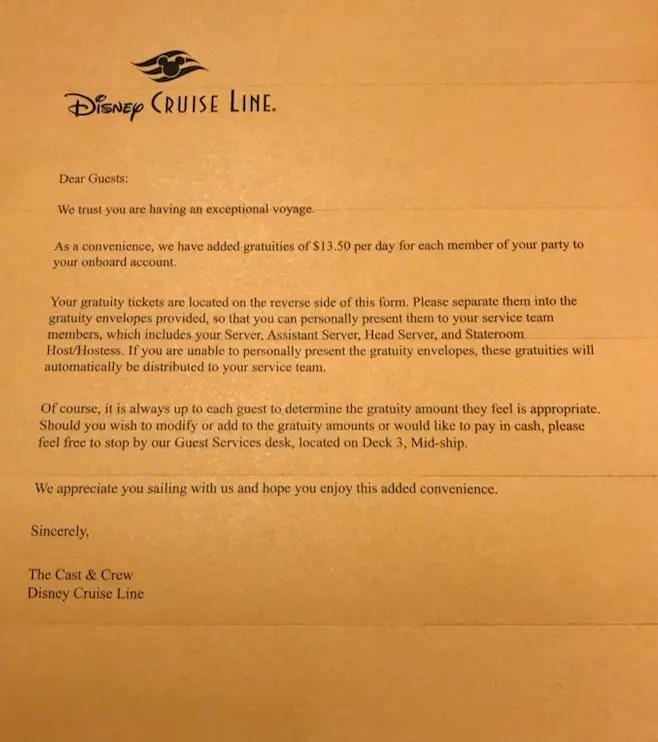 DCL Gratuities letter