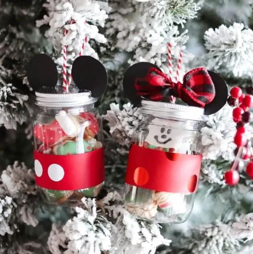 Mickey & Minnie mason jar ornaments