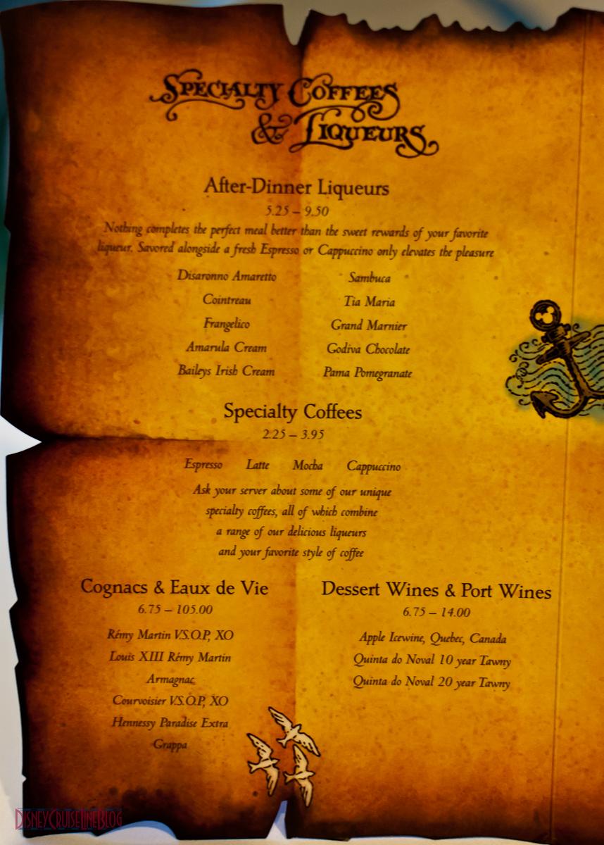 Pirates IN the Caribbean Dinner Menu  The Disney Cruise Line Blog