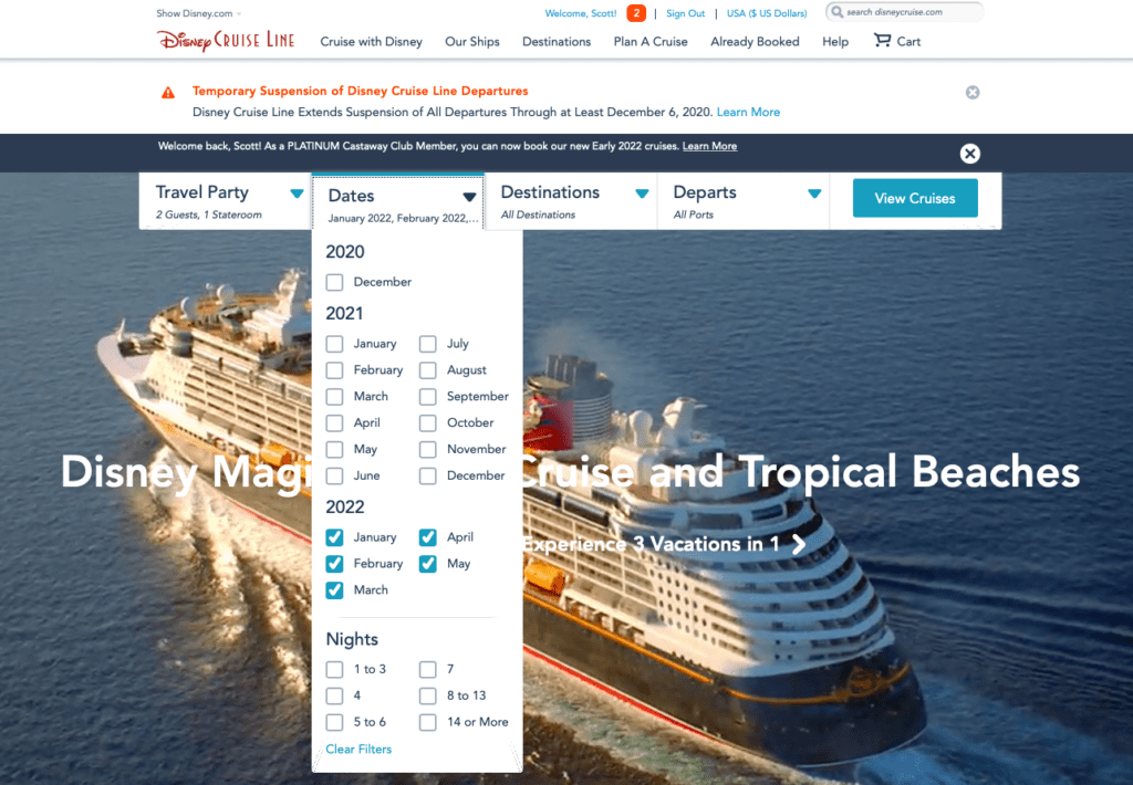 DCL Early 2022 Online Booking Platinum 20201019