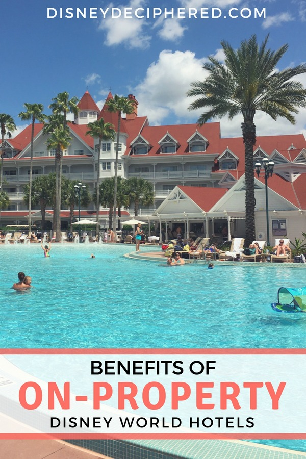 Considering an on-property hotel for your Disney World vacation? All the benefits of on-site Disney hotels, from the Magical Express to Extra Magic Hour. #disney #disneyworld #disneyhotels #disneysmmc #disneydeciphered