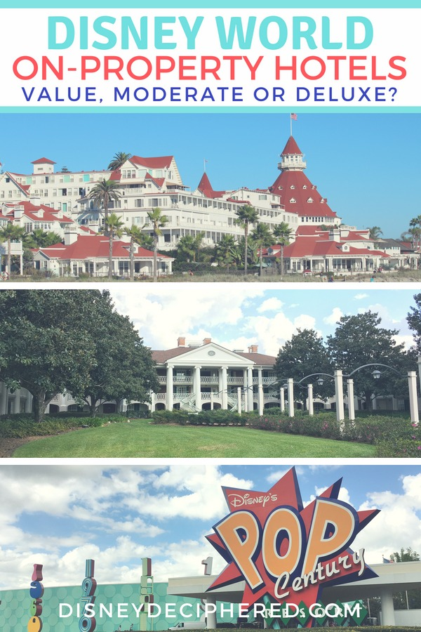 Considering a Disney on-property hotel? Learn the differences between the value, moderate, and deluxe resort hotels so you can book the right lodging at the right price for your Disney World vacation. #disney #disneyhotels #disneyworld #waltdisneyworld