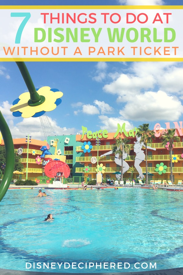 At Disney World without a theme park ticket? Don't miss these top things to do without a park ticket to save money or extend your vacation. From Disney Springs to exploring the Disney resort hotels and beyond. #Disney #DisneyWorld #Disneyonabudget #DisneySMMC