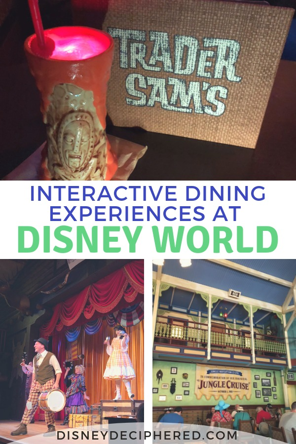 Interactive dining experiences and dinner shows at Walt Disney World | A look at 5 unique antic-filled restaurants where you can be entertained while you dine, from Skipper Canteen to the Hoop-Dee-Doo Revue. #disneydeciphered #disney #disneyworld #disneydining #skippercanteen #tradersams #whisperingcanyon