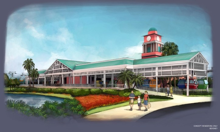The Caribbean Beach Resort station will be the hub of activity for Disney Skyliner system.