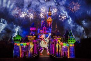 """""""Together Forever"""" comes to life through projections on iconic park locations: Sleeping Beauty Castle, the water screens of the Rivers of America, the façade of """"it's a small world"""" and the buildings of Main Street, U.S.A."""