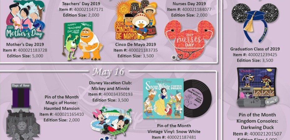 Disneyland, Disney World pins being released for May 2019