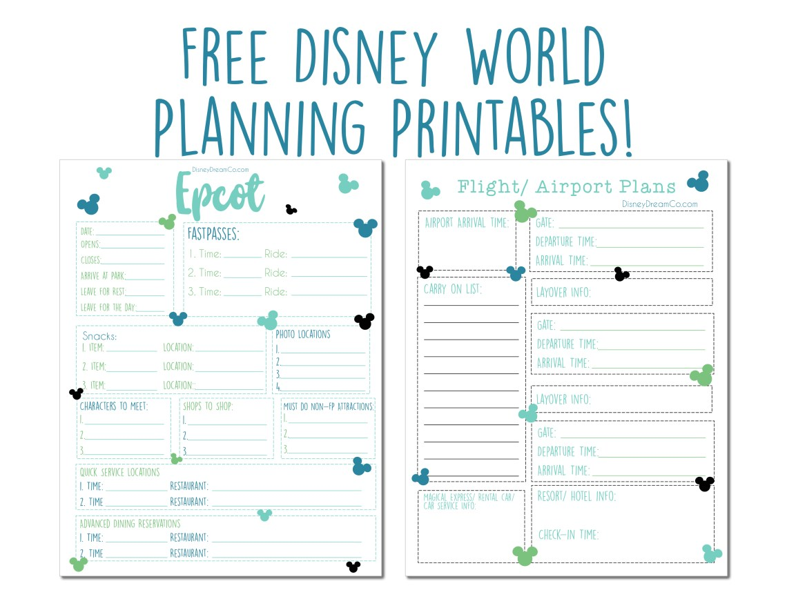Disney World FREE Planning Printables Disney World