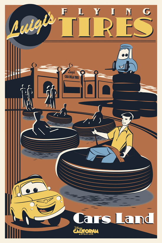 Luigis Flying Tires Attraction Poster
