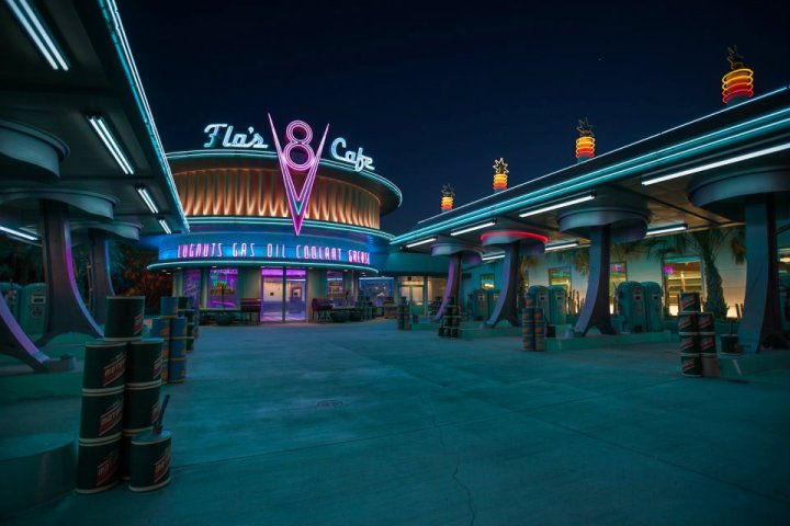 Flovs V8 Cafe At Night Cars Land