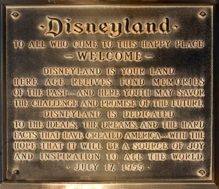 Disneyland Town Square Flag Pole Dedication Plaque
