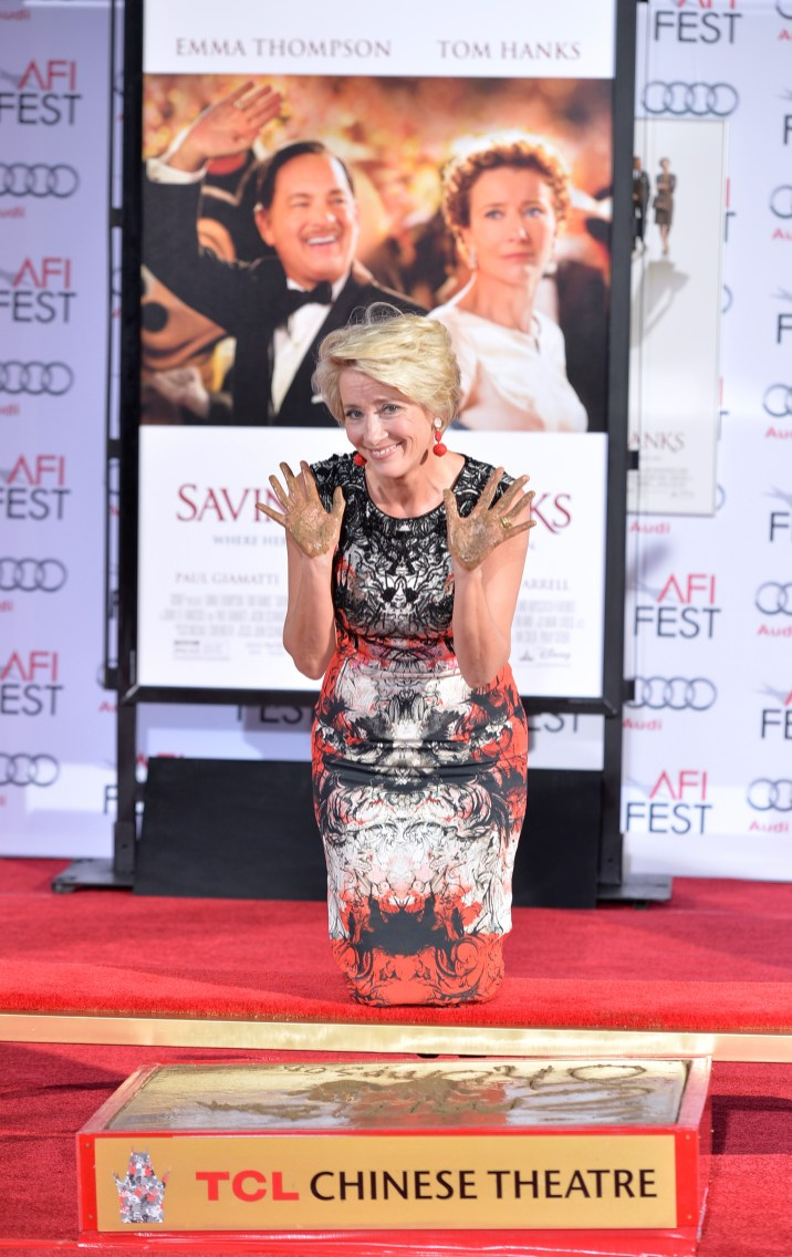Disney Saving Mr Banks Premiere Afi Fest 2013 Hollywood Hand And Footprint Ceremony Emma Thompson