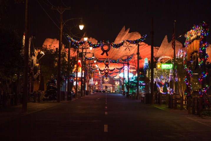 Disneyland Resort Holidays Press Event 2013 Cars Land Christmas Decorations At Night Empty