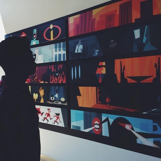 Disney Pixar Animation Studios Headquarters Emeryville Disneyexaminer Incredibles Color Wall