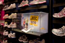 "Glass slipper running shoe at Lady Foot Locker to promote the Disney Princess Half Marathon. Based on a concept, ""finish before midnight."""