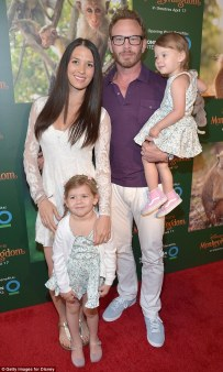 Ian Ziering and his family at the Monkey Kingdom premiere.
