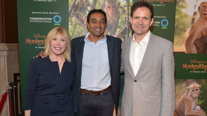 Debbie Levin, Dr. M Sanjayan and Mark Linfield at the Monkey Kingdom premiere.