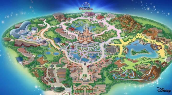 Shanghai Disney Resort Disneyland Park Map Overview