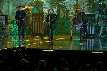 """The musical group """"Fall Out Boy"""" sing a song from """"The Jungle Book"""" for the ABC Television Special, """"The Wonderful World of Disney: Disneyland 60"""" that will air February 21st at 8 p.m. (c) OC Register"""