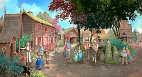 Concept art of what Frozen land might look land if Frozen land becomes real - April Fools! These are actually concept art pieces from the Frozen-themed ride in WDW. [http://thedisneyblog.com/2015/08/19/new-concept-art-from-epcots-frozen-attraction-in-norway/]