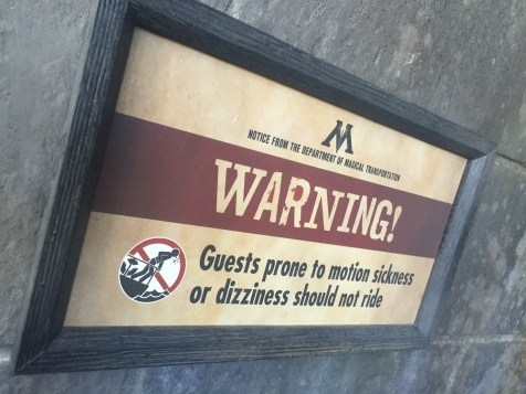 Harry Potter Wizarding World Hollywood Immersive Experience Feature Forbidden Journey Warning Sign