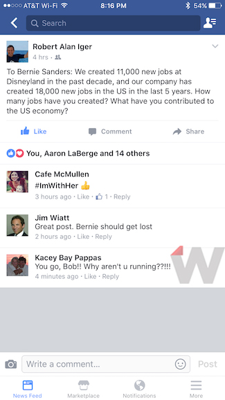 Bob Iger Bernie Sanders Comment Response
