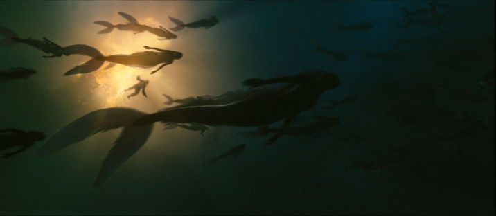 PIRATES OF THE CARIBBEAN: ON STRANGER TIDES Mermaids surround a longboat full of pirates from the Queen Anne's RevengePhoto Courtesy of Industrial Light & Magic©Disney Enterprises, Inc. All Rights Reserved.. [http://pirates.wikia.com/wiki/Mermaid]