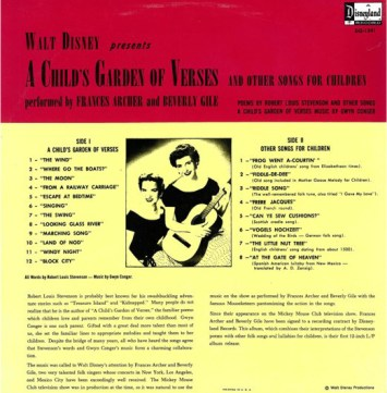 A Child's Garden of Fables Frances Archer Beverly Gile Back Songlist Walt Disney Records Music