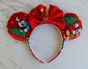 Christmas Mickey Mouse and Minnie Mouse Customizable Handmande DIY Ears Etsy AnniesFairytaleBows