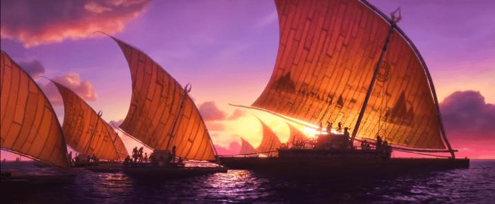 Moana We Know the Way Music Clip Lin-Manuel Miranda Opetaia Foa'i Te Vaka Boats Ships Sailing