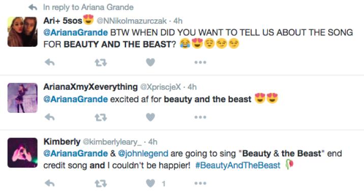 Ariana Grande John Legend Beauty and the Beast Twitter Reaction 2
