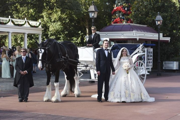 Disney Fairy Tale Weddings Freeform Cinderella Wedding Dress and Carriage